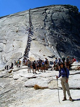 Summer-hikers-going-up-the-cables-to-the