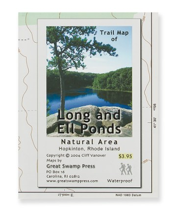 Great Swamp Press Long and Ell Ponds Trail Map - Rhode Island