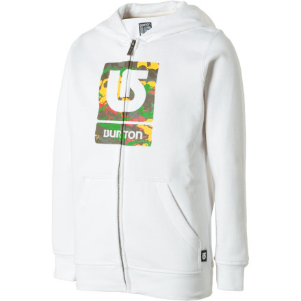 photo: Burton Boys' Logo Fill Full-Zip Hoodie fleece jacket
