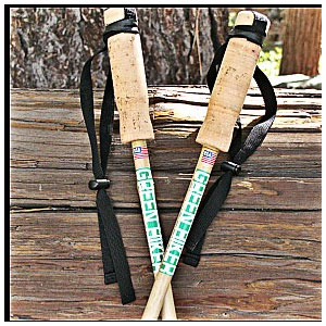 American Trekking Pole Green Hiker Cork Grip Poles