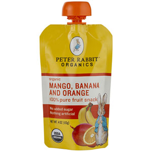 photo:   Peter Rabbit Organics Mango, Banana, and Orange Fruit Snack snack/side dish