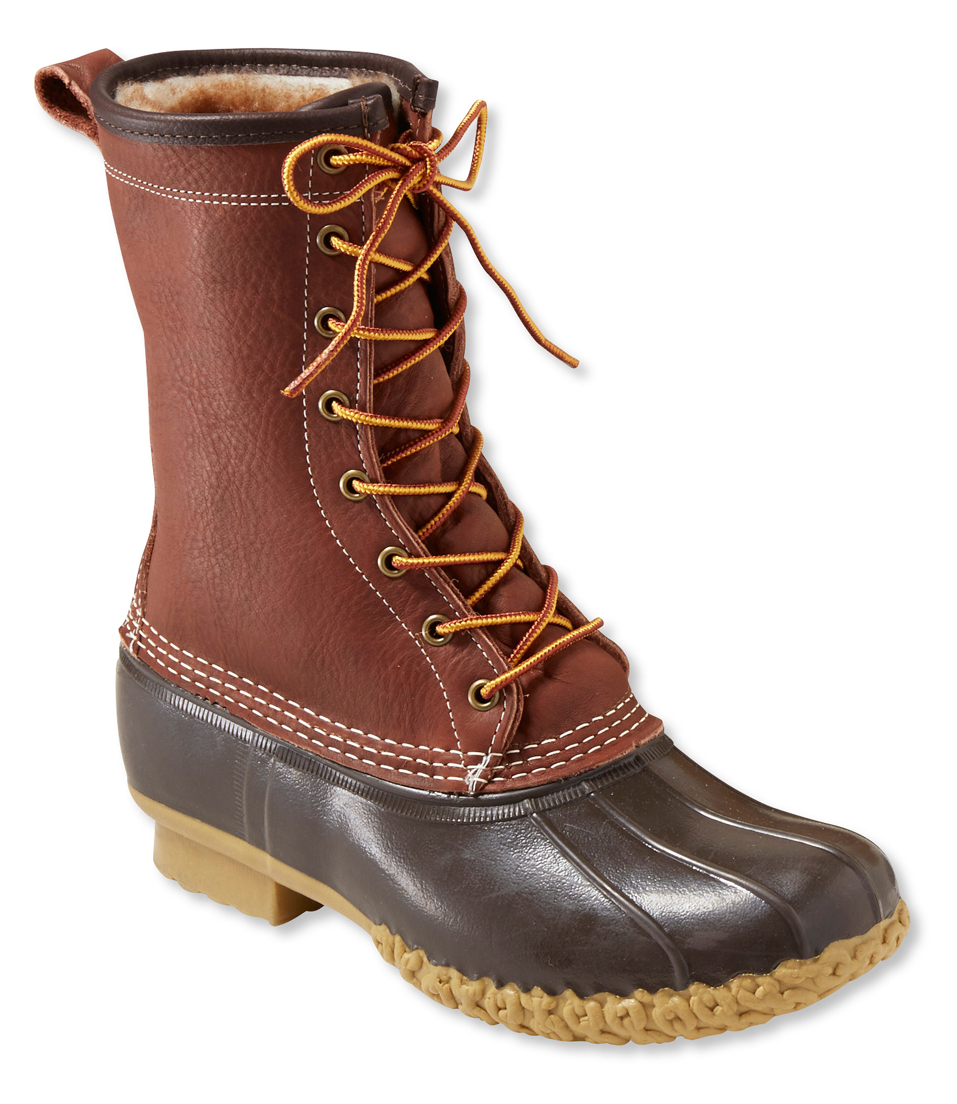 "L.L.Bean Boots, 10"" Tumbled-Leather Shearling-Lined"