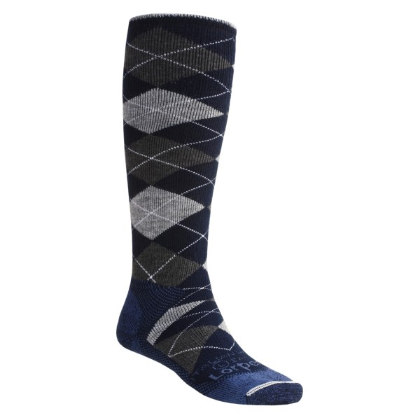 Lorpen Heavyweight Argyle Snowboard Socks Merino Wool Over-the-Calf