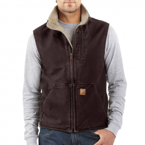 photo: Carhartt Sandstone Mock-Neck Vest/Sherpa-Lined synthetic insulated vest