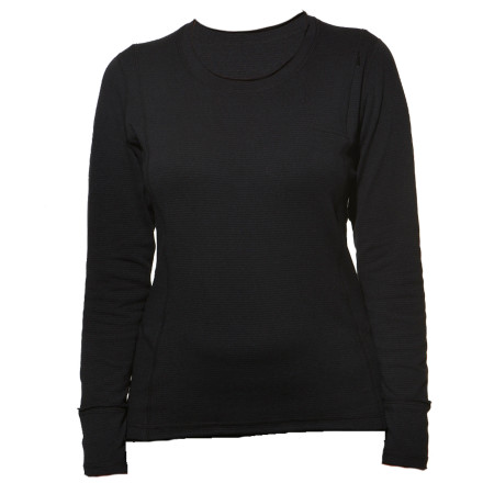 Terramar Hot Totties Grid Fleece Scoop Neck Shirt
