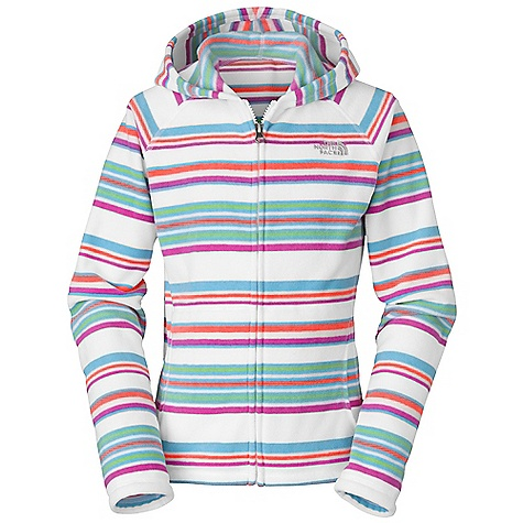 photo: The North Face Girls' Striped Glacier Full Zip Hoodie fleece jacket