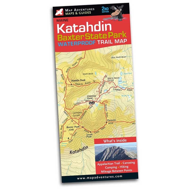 Map Adventures Katahdin Baxter State Park Waterproof Trail Map