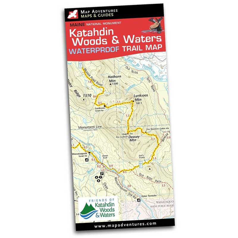 Map Adventures Katahdin Woods & Waters National Monument Waterproof Trail Map