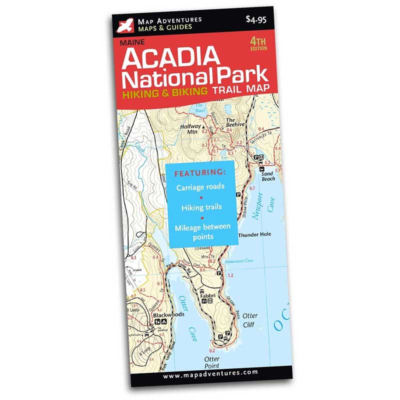 Map Adventures Acadia National Park Hiking & Biking Trail Map