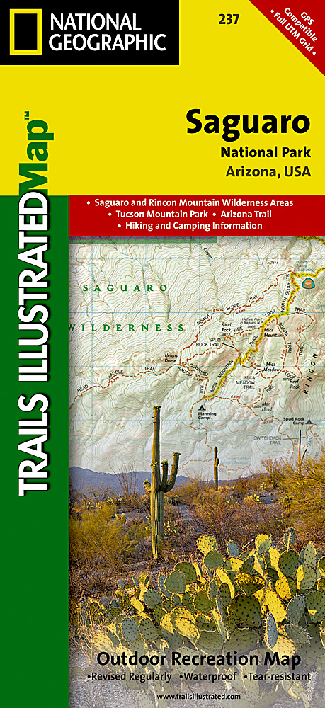 photo: National Geographic Saguaro National Park Map us mountain states paper map
