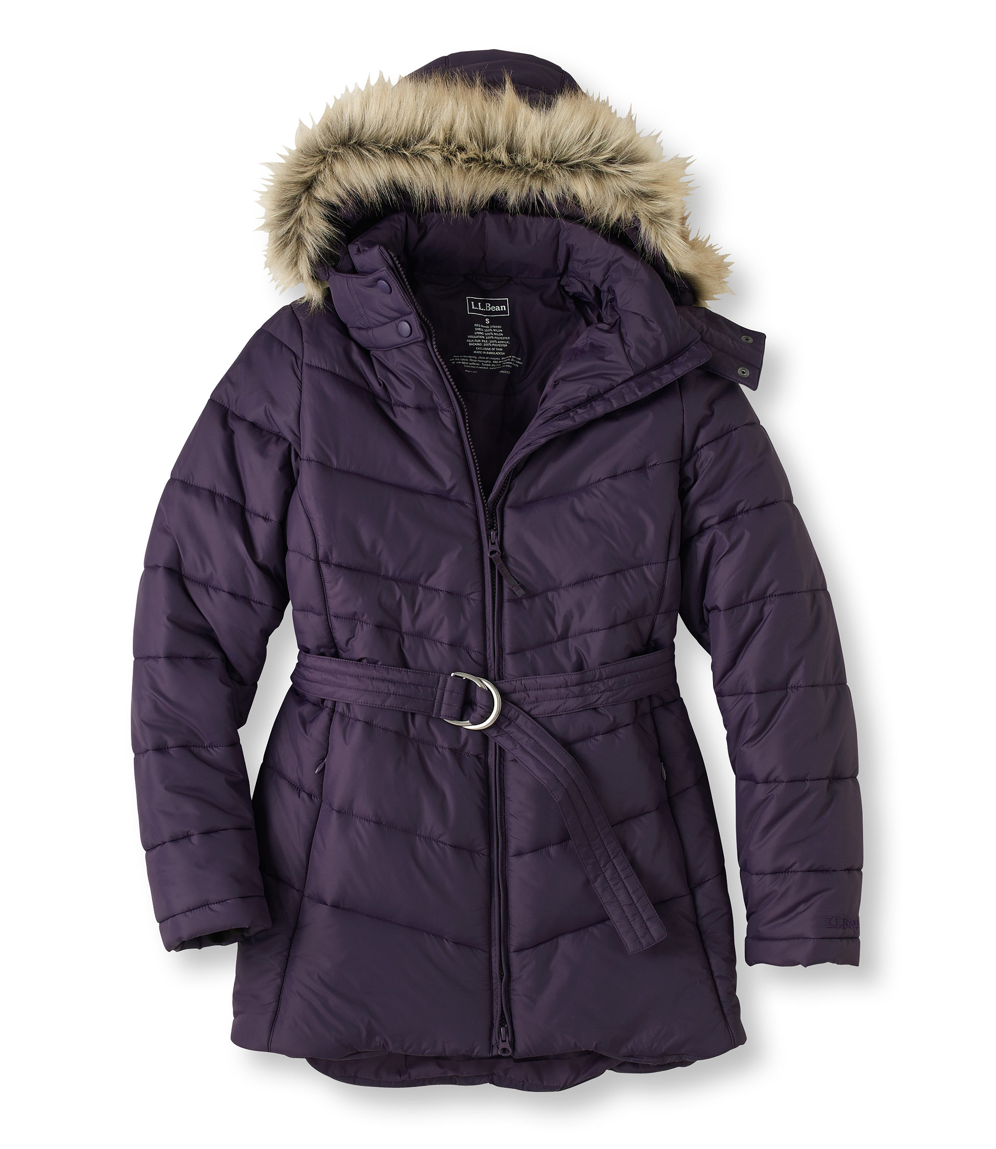L.L.Bean Warm and Light Belted Coat