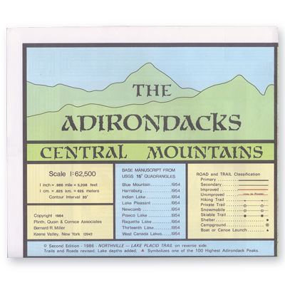 photo: Adirondack Maps Central Mountains Map us northeast paper map
