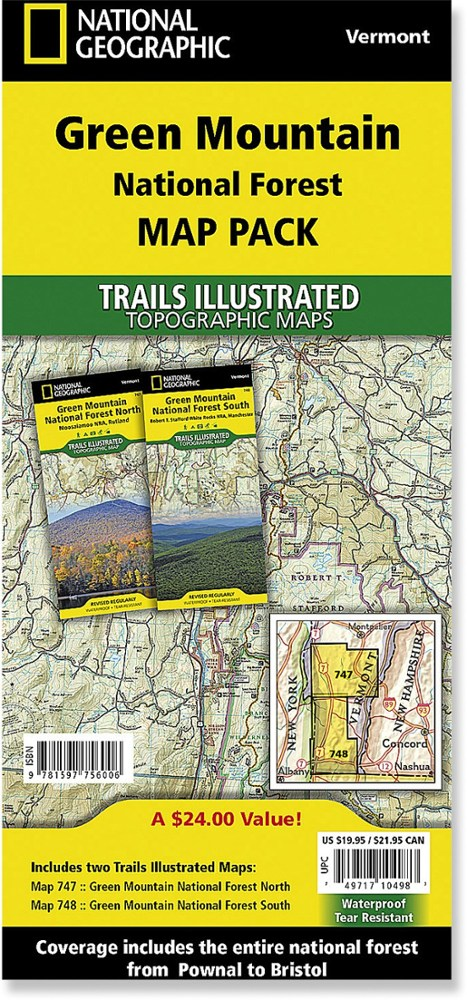 National Geographic Green Mountain National Forest Map Pack