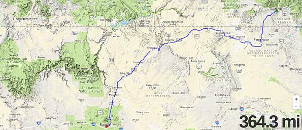 Durango-to-Flagstaff-364-miles---Edited.