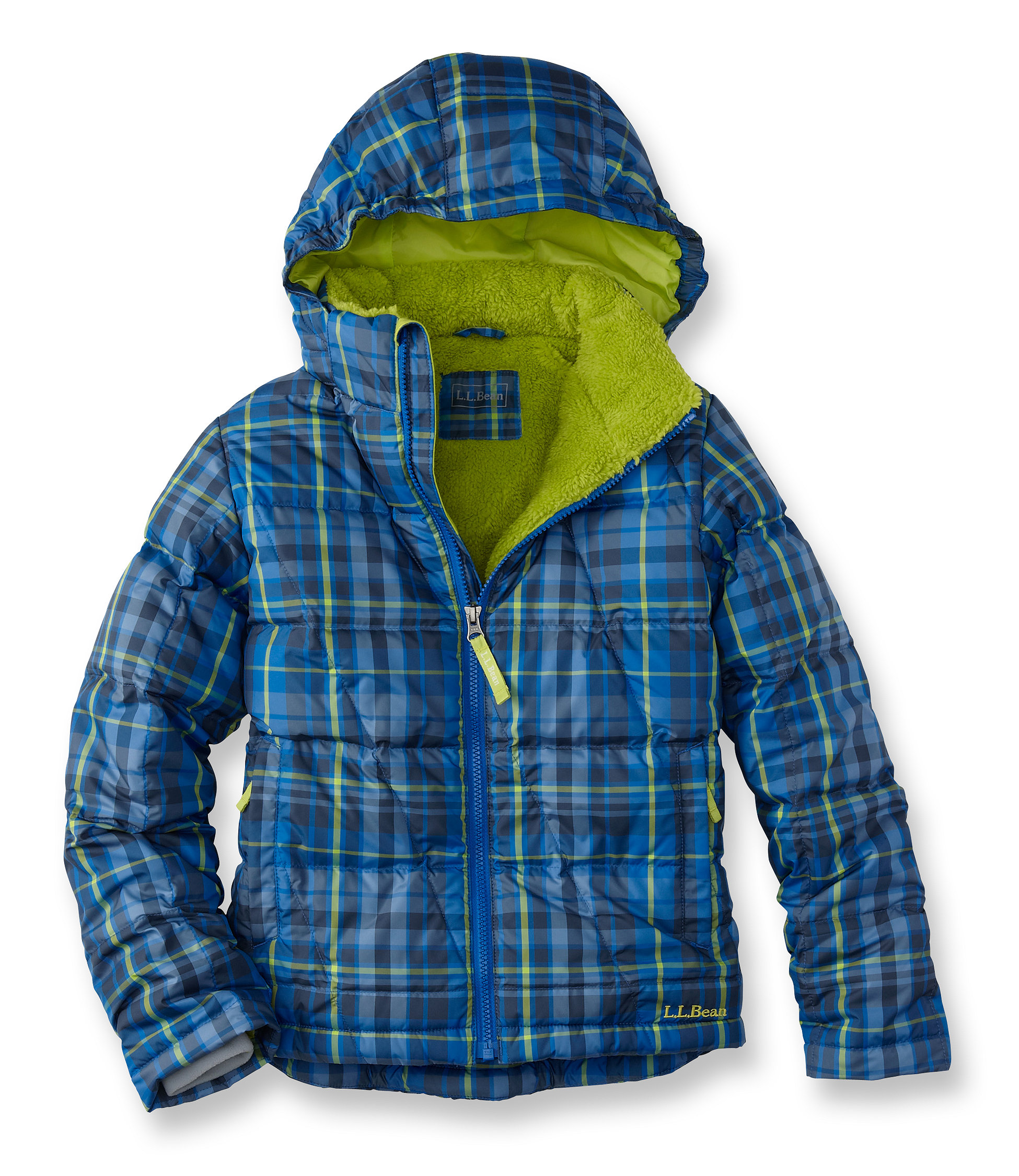 photo: L.L.Bean Fleece-Lined Down Jacket, Plaid down insulated jacket