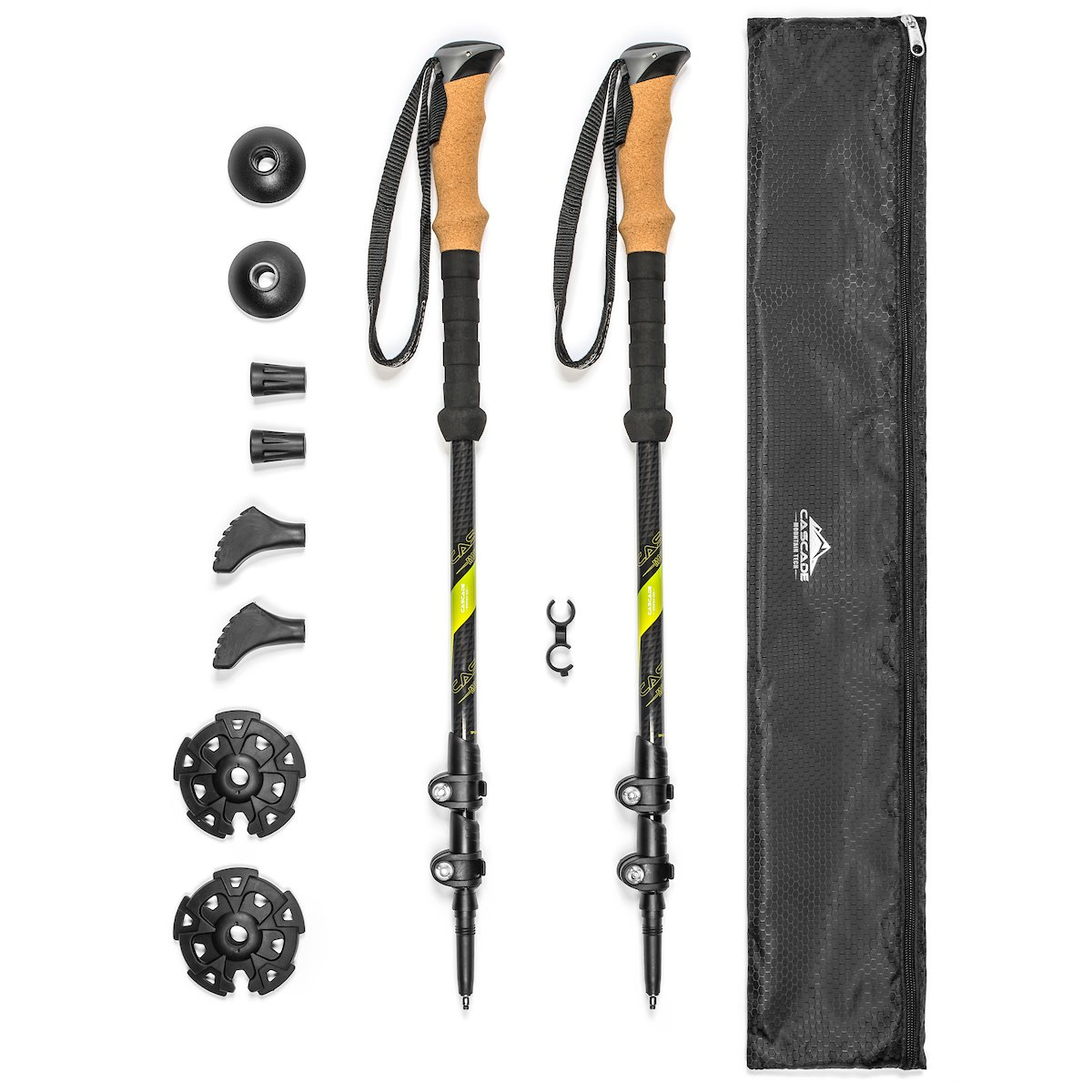 Cascade Mountain Tech Carbon Fiber Quick Lock Trekking Poles Cork Grip