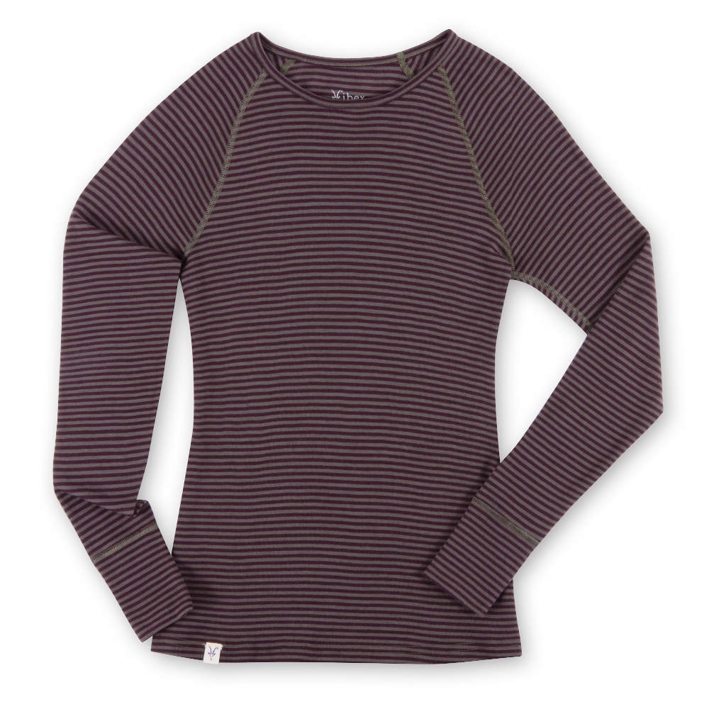 photo: Ibex Women's Woolies Crew Stripe base layer top