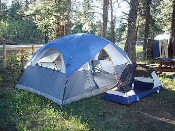 My-new-cabin-tent-compared-to-my-backpac & First three weeks at the Mormon Lake area - Trailspace.com