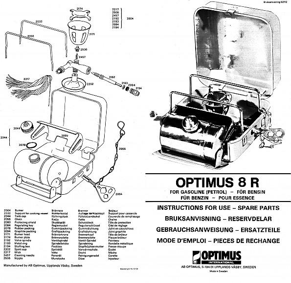 Parts optimus stove Optimus