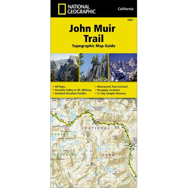 photo: National Geographic John Muir Trail Topographic Map Guide us pacific states paper map