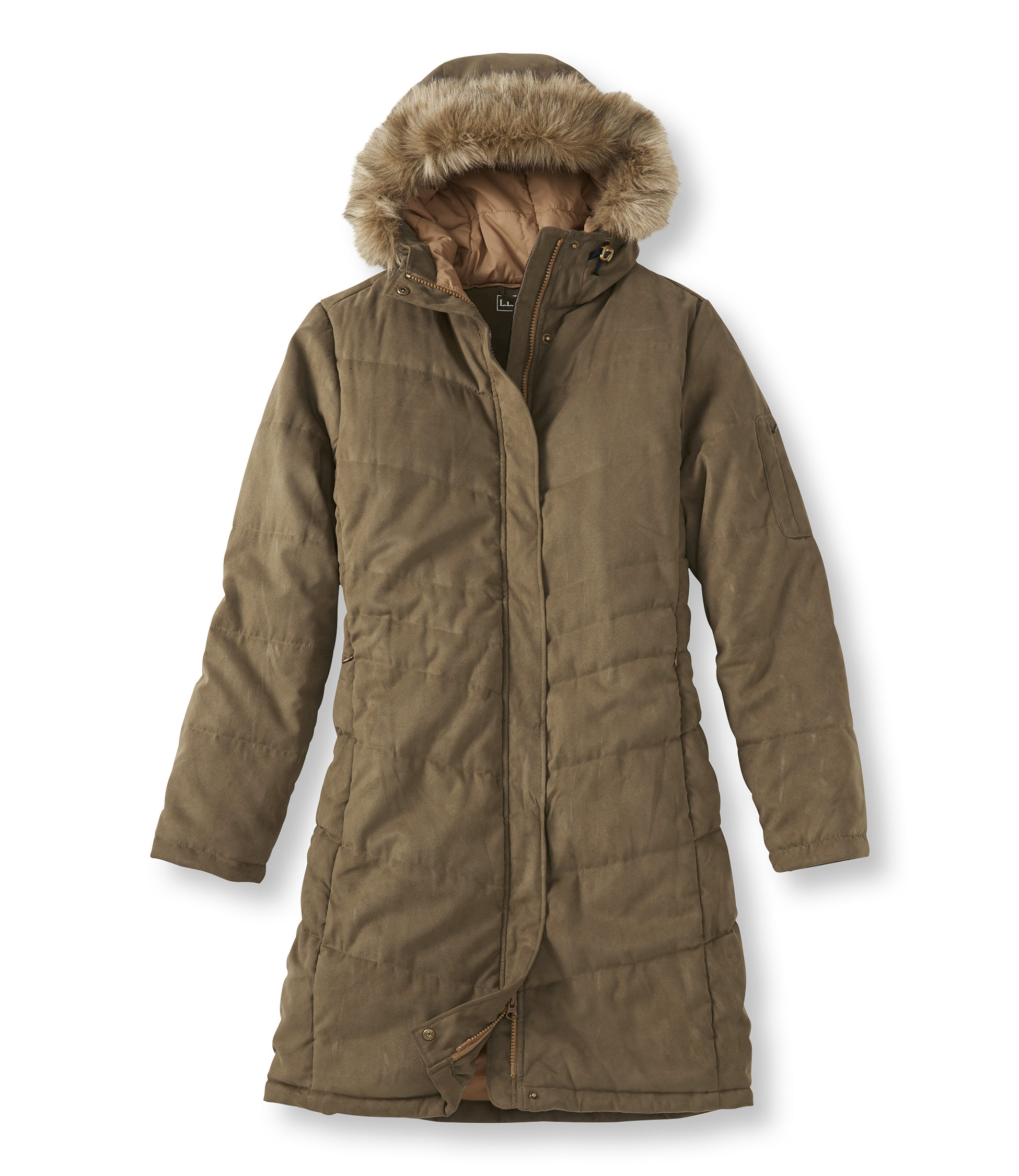 L.L.Bean Microsuede Quilted Coat