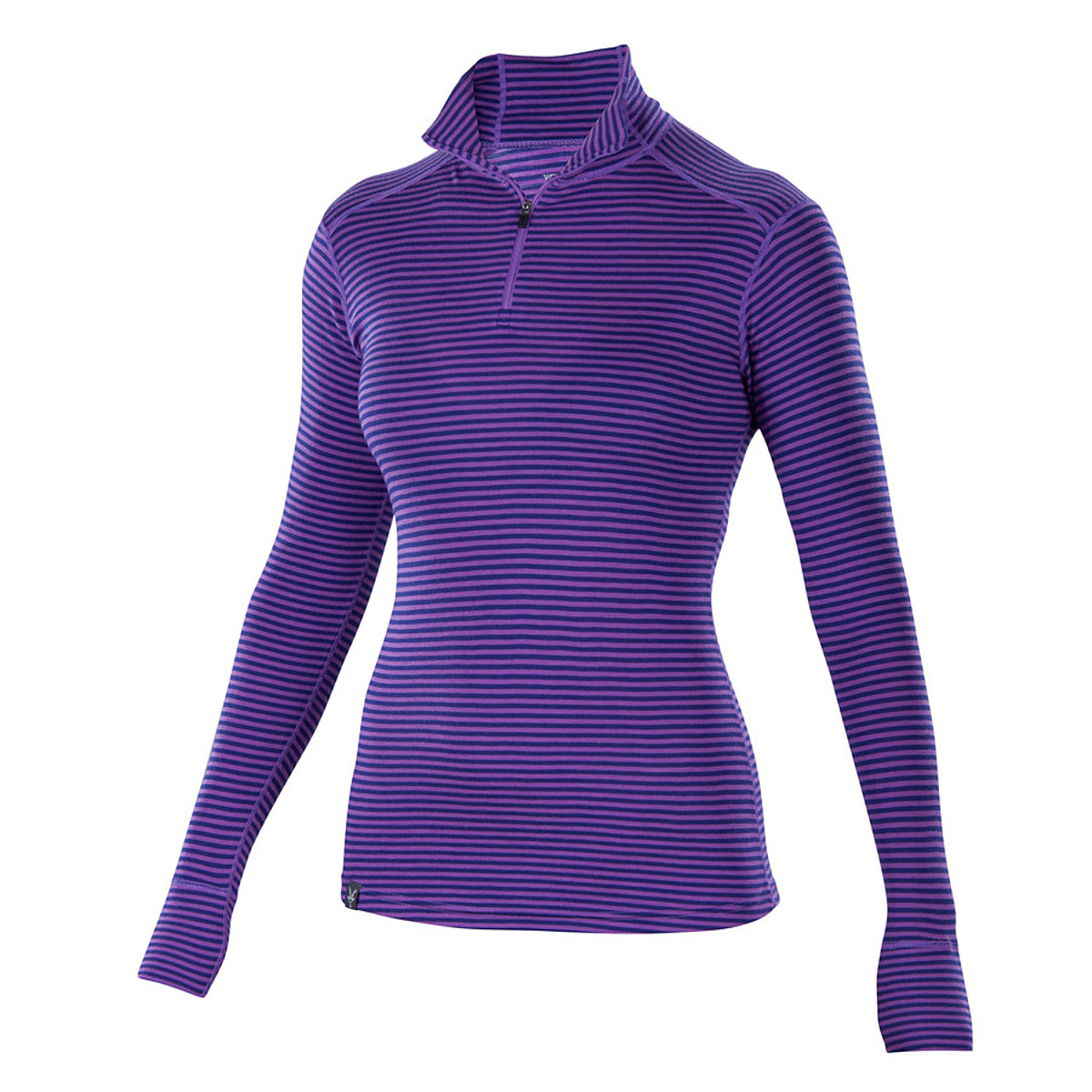 photo: Ibex Women's Woolies Zip T-Neck Stripe base layer top