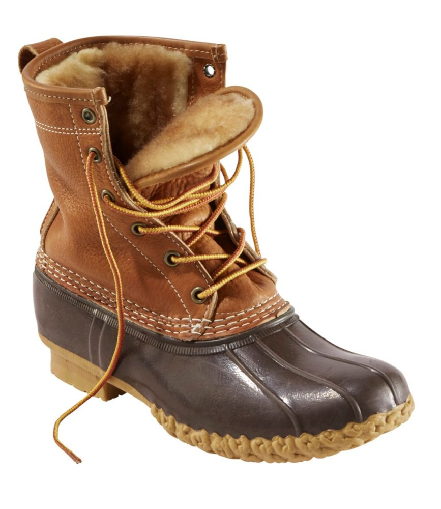 "L.L.Bean Bean Boots, 8"" Tumbled-Leather Shearling-Lined"