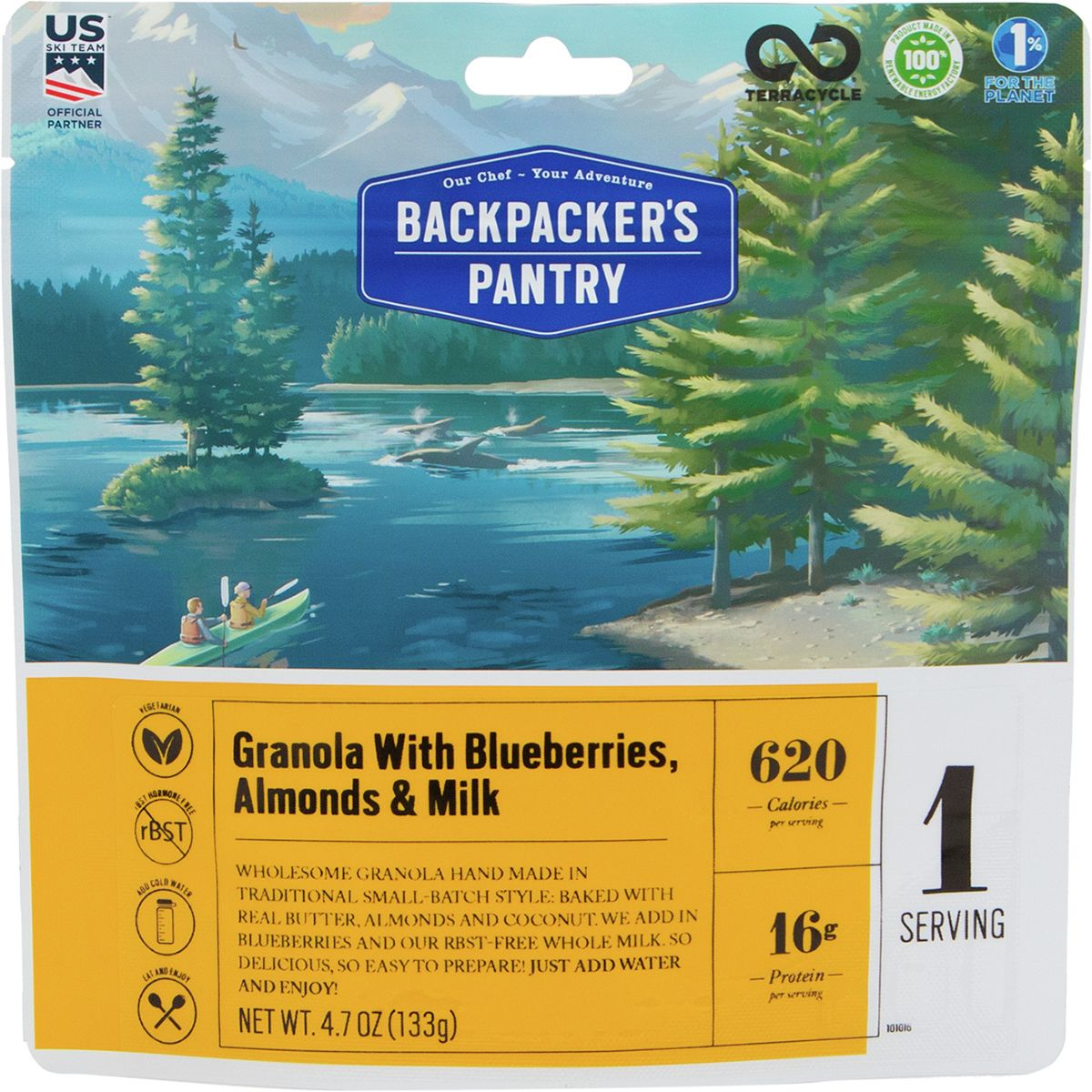 Backpacker's Pantry Granola with Milk and Blueberries