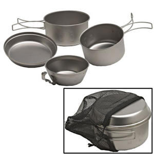 Snow Peak Four Piece Titanium Cookware