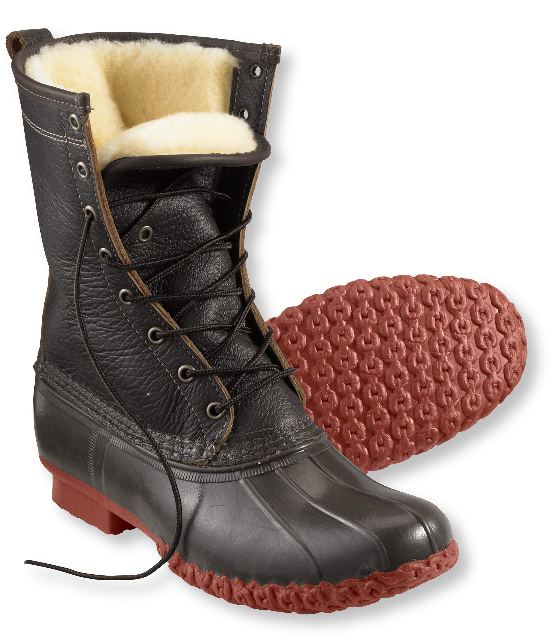 """L.L.Bean Bean Boots, 10"""" Bison Shearling-Lined"""