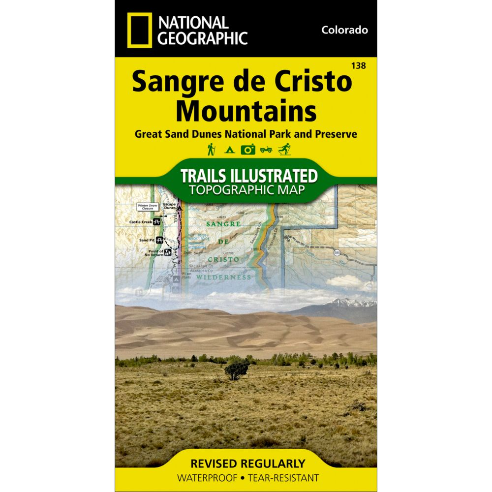 photo: National Geographic Sangre De Cristo Mountains Trail Map  us mountain states paper map