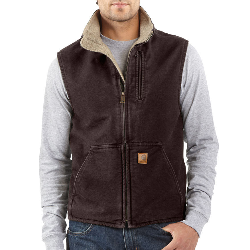 photo: Carhartt Men's Sandstone Mock-Neck Vest/Sherpa-Lined synthetic insulated vest