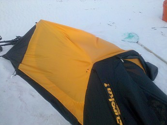 If this tent was a couple inches wider on each side it COULD fix this problem. As for now stay away from this tent!! & Eureka! Solitaire Reviews - Trailspace.com