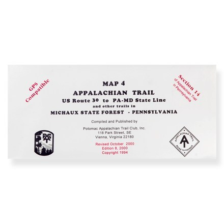 Potomac Appalachian Trail Club Appalachian Trail Map 4 - U.S. Route 30 to PA-MD State Line