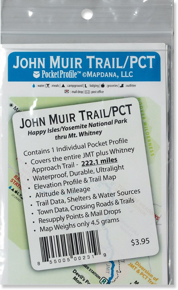 Pocket Profile Maps John Muir Trail/PCT Map
