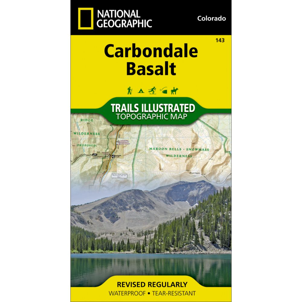 photo: National Geographic Carbondale/Basalt Trails Map us mountain states paper map
