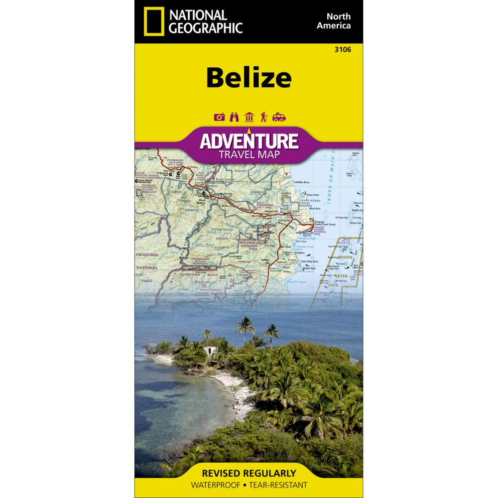 photo: National Geographic Belize Adventure Map international paper map