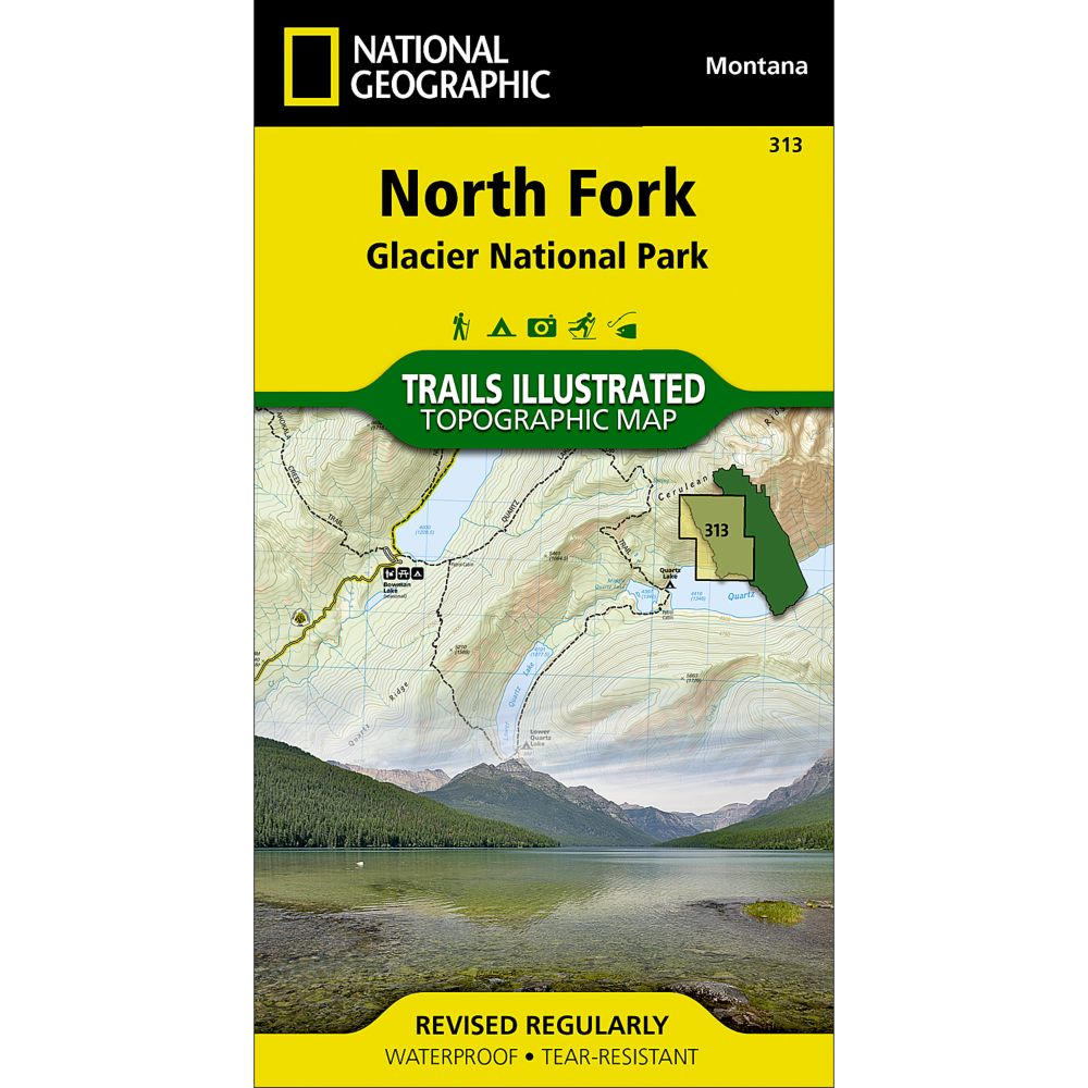 photo: National Geographic North Fork Trail Map - Glacier National Park us mountain states paper map