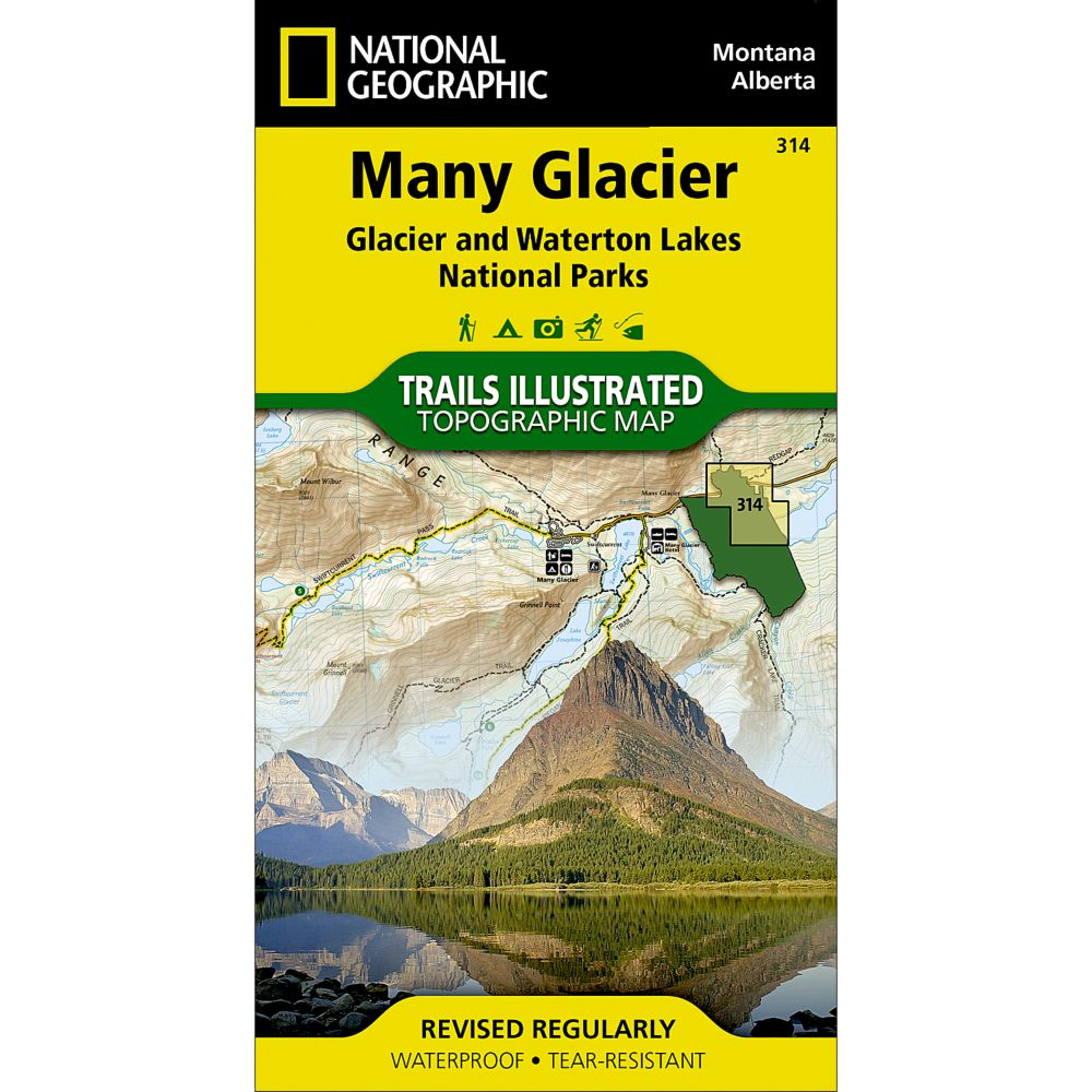 National Geographic Many Glacier Trail Map - Glacier National Park