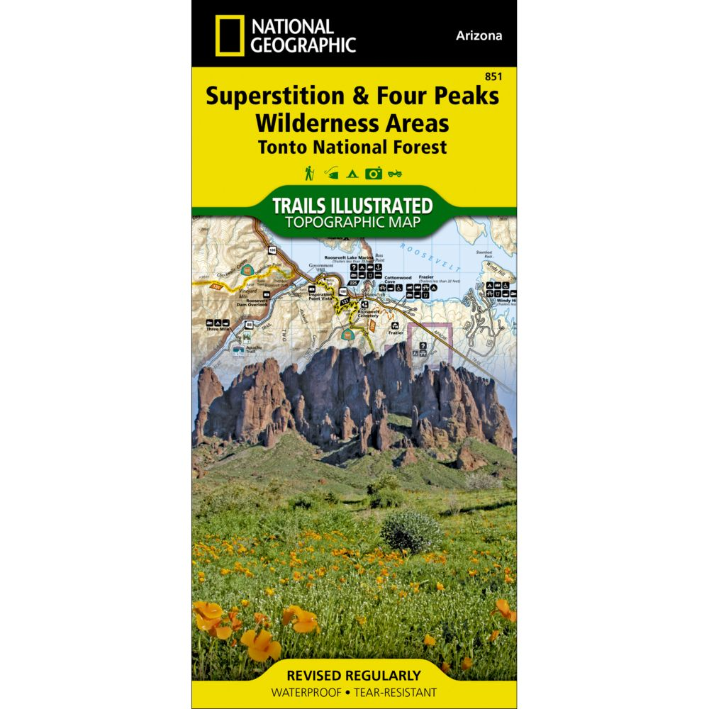 photo: National Geographic Superstition & Four Peaks Wilderness Areas Map us mountain states paper map