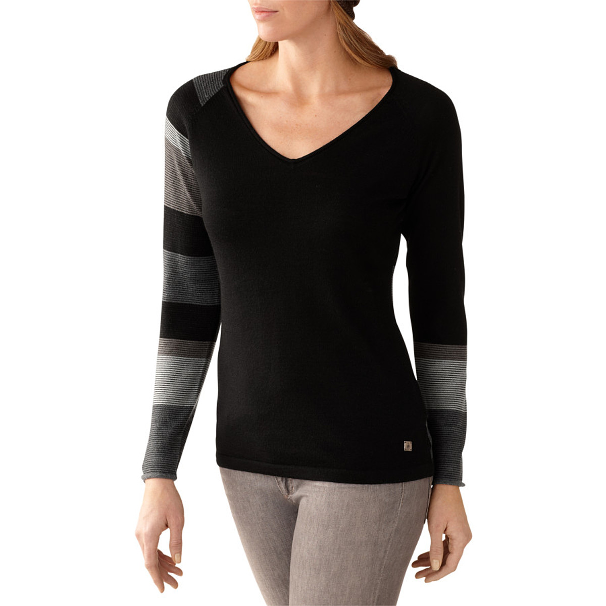 Smartwool Scrolling Stripe V-Neck Sweater