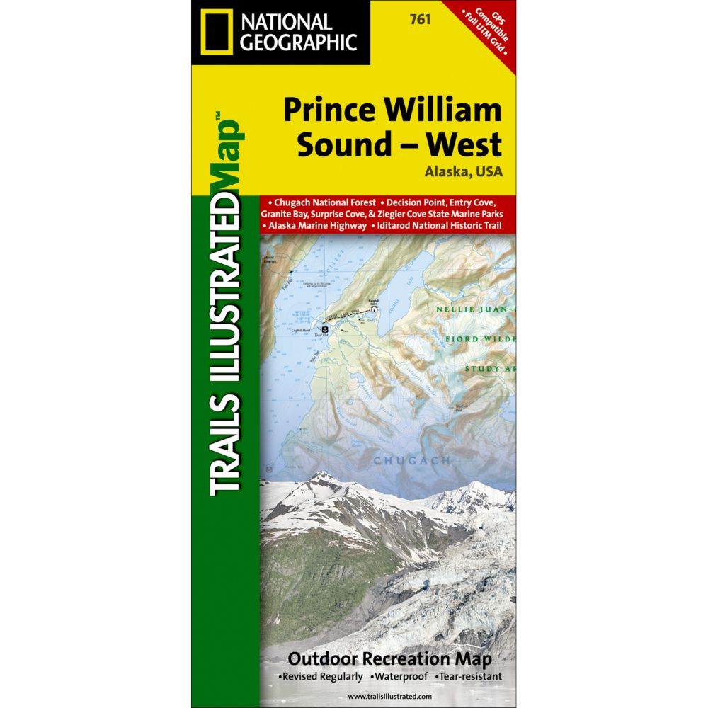 National Geographic Prince William Sound - West Trail Map