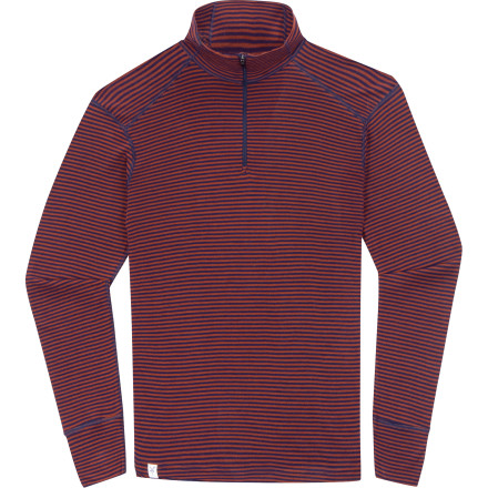 photo: Ibex Men's Woolies Zip T-Neck Stripe base layer top