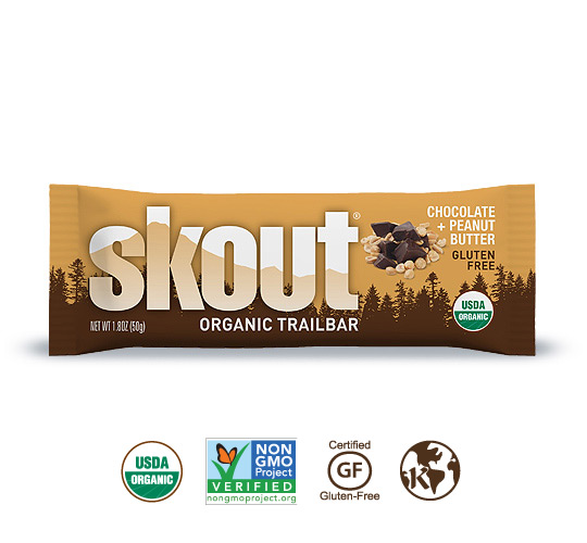 Skout Organic Chocolate + Peanut Butter Trailbar