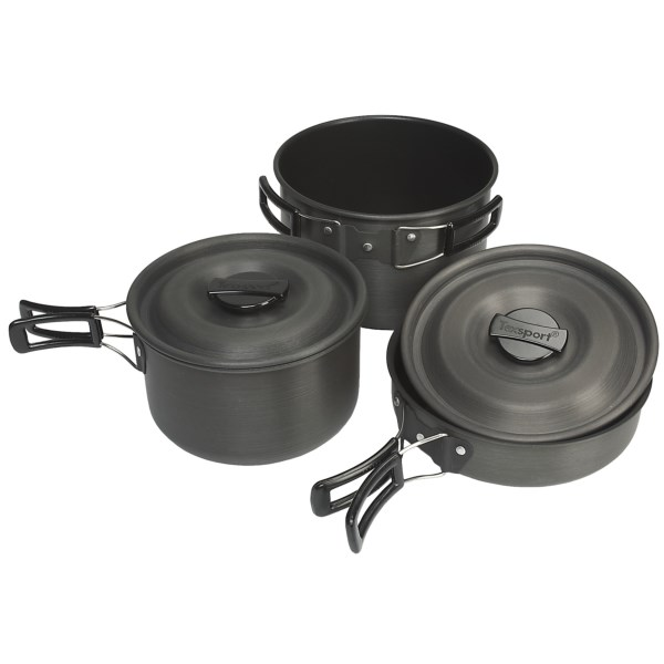 photo: Texsport Hiker Black Ice Hard Anodized Steamer Set pot/pan